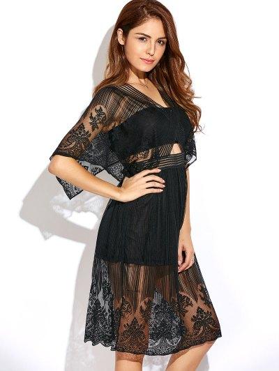 Cutout Waist Lace Dress - BLACK M Mobile