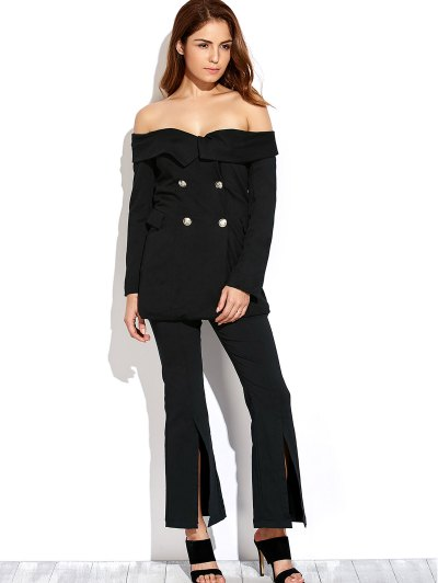 Double Breasted Off The Shoulder Blazer - CADETBLUE L Mobile