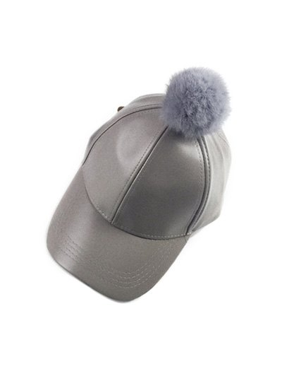 Hip Hop Faux Leather Pompom Baseball Hat - GRAY  Mobile