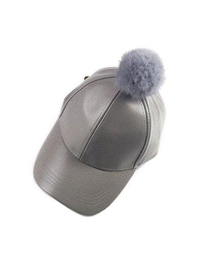 Hip Hop Faux Leather Pompom Baseball Hat - GRAY  Mobile