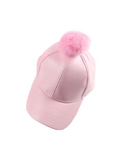 Hip Hop Faux Leather Pompom Baseball Hat - PINK  Mobile