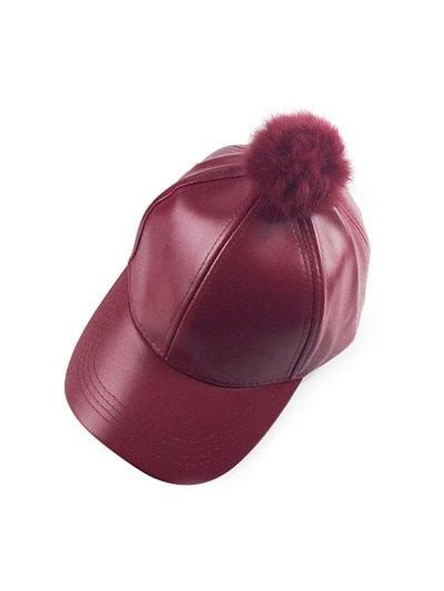Hip Hop Faux Leather Pompom Baseball Hat - WINE RED  Mobile