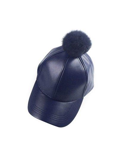 Hip Hop Faux Leather Pompom Baseball Hat - CADETBLUE  Mobile