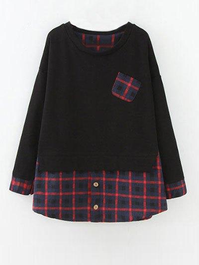Plus Size Layered Hem Sweatshirt - RED WITH BLACK L Mobile