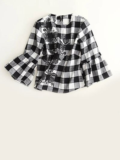 Bell Sleeve Embroidered Checked Blouse - WHITE AND BLACK S Mobile