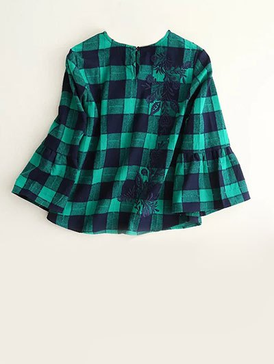 Bell Sleeve Embroidered Checked Blouse - BLUE AND GREEN L Mobile