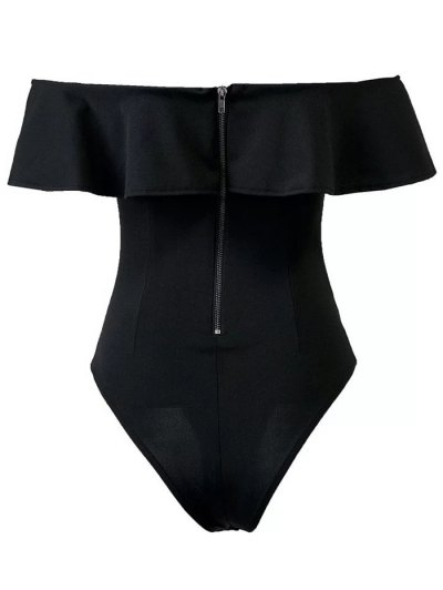 Ruffles Off The Shoulder Bodysuit - BLACK M Mobile