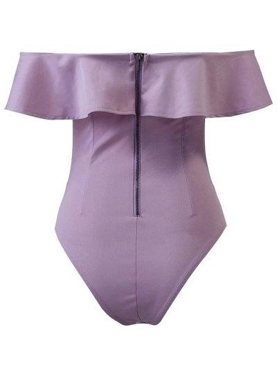 Ruffles Off The Shoulder Bodysuit - PURPLE L Mobile