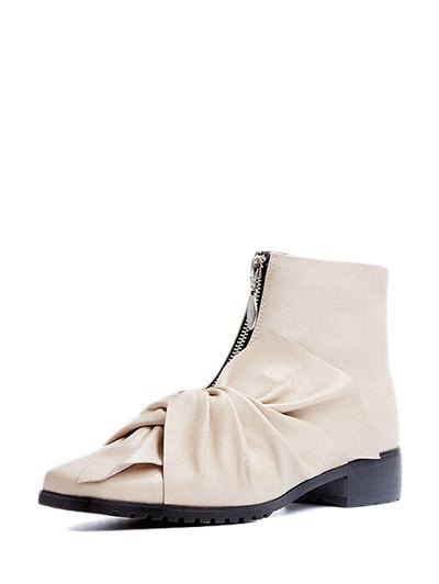 Bow Pointed Toe Zipper Ankle Boots - APRICOT 37 Mobile