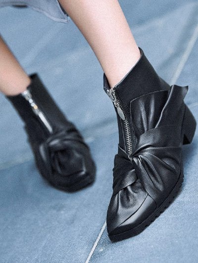 Bow Pointed Toe Zipper Ankle Boots - BLACK 38 Mobile