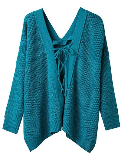 V Neck Lace Up Cut Out Jumper - LAKE BLUE ONE SIZE Mobile