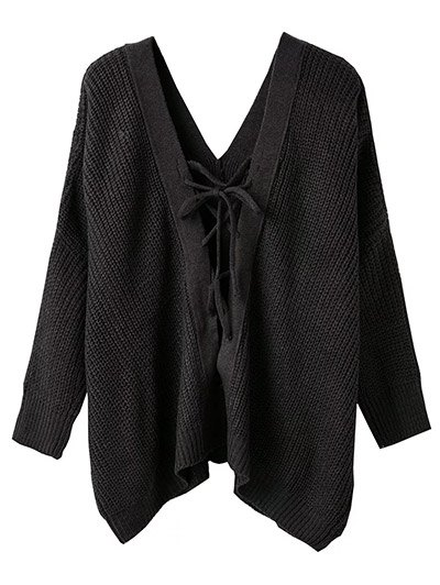 V Neck Lace Up Cut Out Jumper - ESPRESSO ONE SIZE Mobile