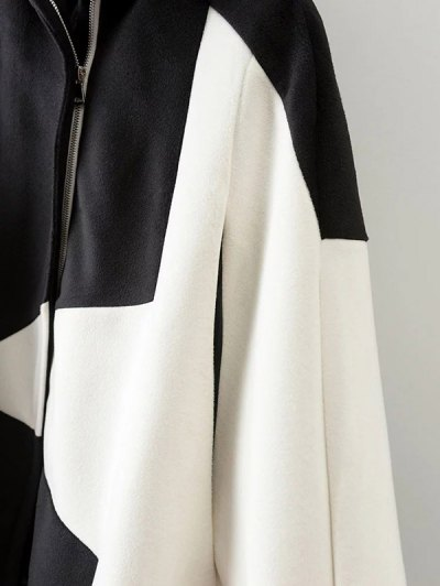 Cashmere Pentagram Print Cape Coat - WHITE S Mobile