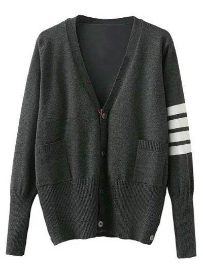 V Neck Striped Sleeve Cardigan - GRAY L Mobile