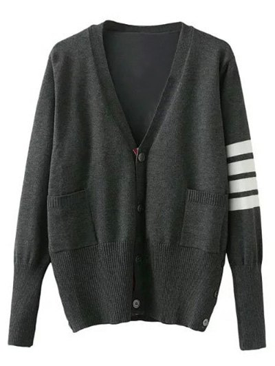 V Neck Striped Sleeve Cardigan - GRAY M Mobile