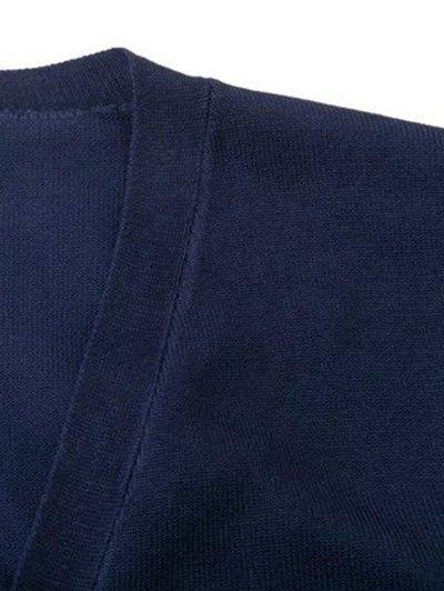 V Neck Striped Sleeve Cardigan - CADETBLUE L Mobile