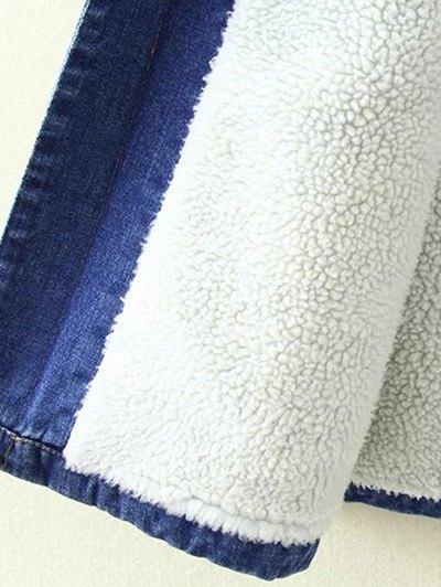 Borg Lined Maxi Sherpa Denim Coat - BLUE M Mobile