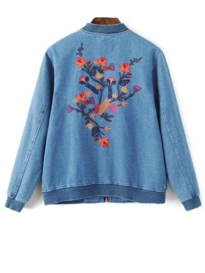 Floral Embroidered Denim Bomber Jacket - DENIM BLUE L Mobile
