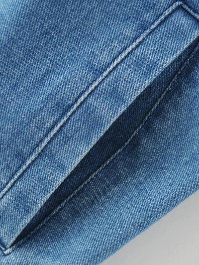 Floral Embroidered Denim Bomber Jacket - DENIM BLUE M Mobile
