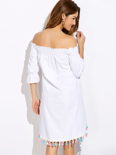 Off Shoulder Tassel Smock Dress - WHITE M Mobile