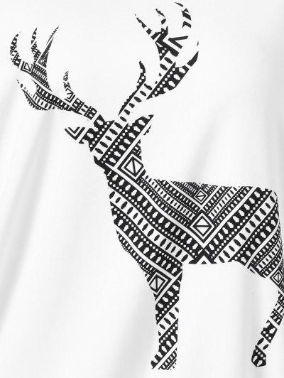 Plus Size Wapiti Print Skew Collar Sweatshirt - WHITE 4XL Mobile