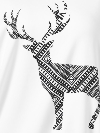 Plus Size Wapiti Print Skew Collar Sweatshirt - WHITE 3XL Mobile