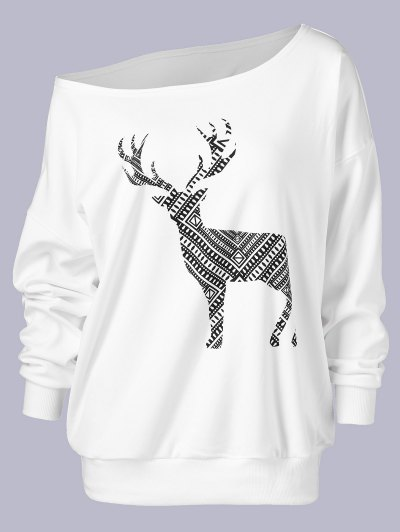 Plus Size Wapiti Print Skew Collar Sweatshirt - WHITE 2XL Mobile