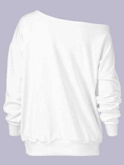 Plus Size Wapiti Print Skew Collar Sweatshirt - WHITE XL Mobile
