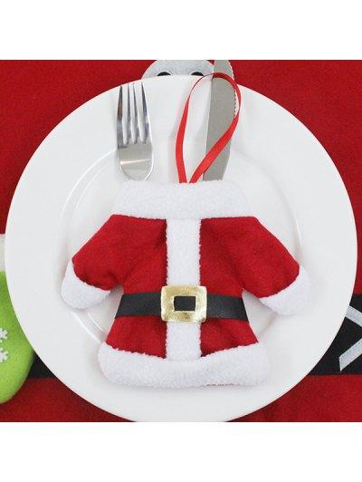 Christmas Santa Clothes Tableware Holder Bag - RED  Mobile