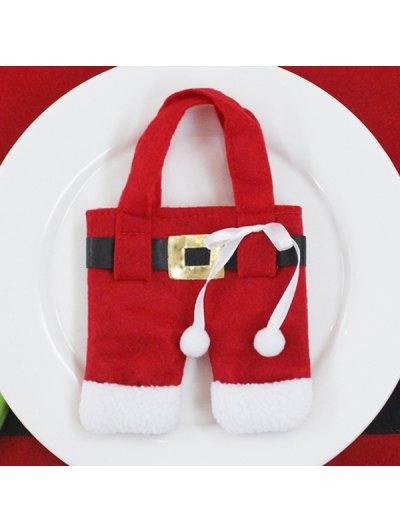 Christmas Santa Pants Tableware Holder Bag - Red