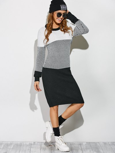 Contrast Trim Sweater Dress - WHITE AND BLACK ONE SIZE Mobile