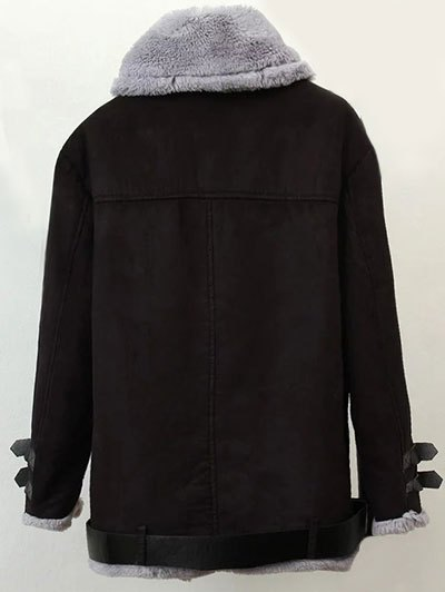 Zippers Buckles Faux Shearling Jacket - COFFEE BROWN S Mobile