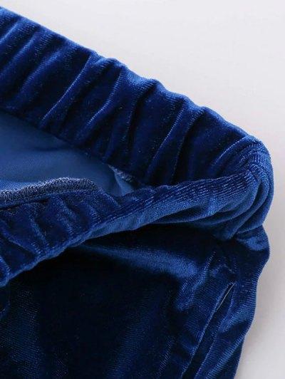 Velour Drawstring Sweatpants - GRAY L Mobile