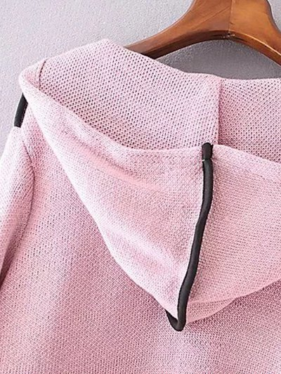 Zippered Hooded Cardigan - PINK ONE SIZE Mobile