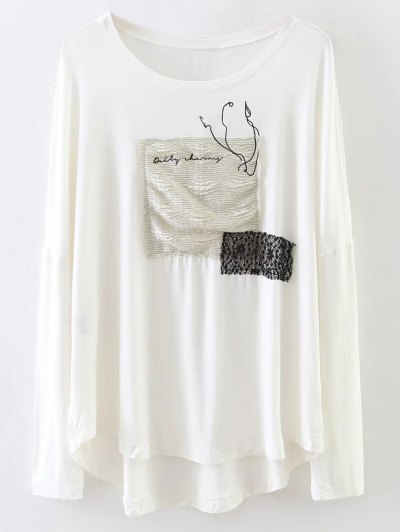 Long Sleeve Patched Tee - WHITE L Mobile