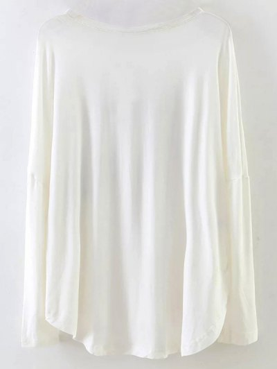 Long Sleeve Patched Tee - WHITE M Mobile
