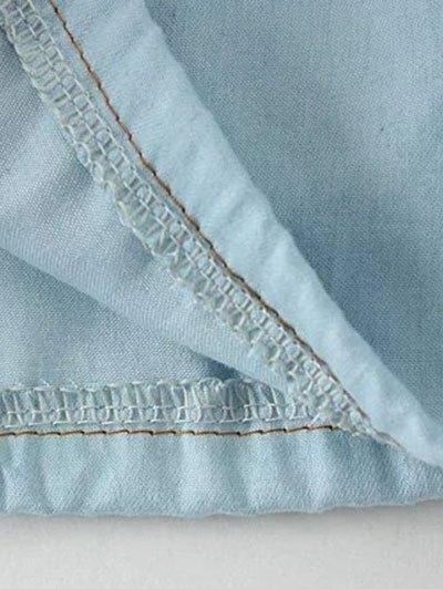 Denim Off The Shoulder Blouse - LIGHT BLUE M Mobile