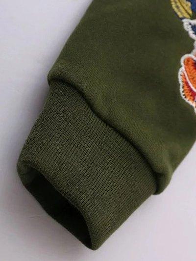 Floral Embroidered Raglan Sweatshirt - GREEN L Mobile