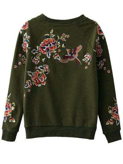 Floral Embroidered Raglan Sweatshirt - GREEN M Mobile