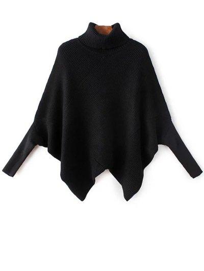 Hanky Hem Turtleneck Batwing Sweater - BLACK ONE SIZE Mobile
