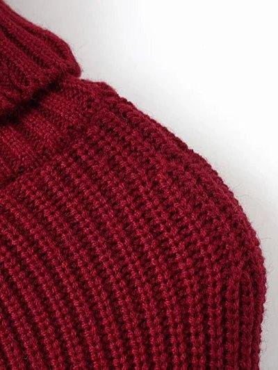 Hanky Hem Turtleneck Batwing Sweater - BURGUNDY ONE SIZE Mobile