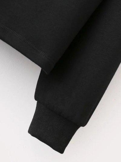 Graphic Pattern Jewel Neck Sweatshirt - BLACK L Mobile
