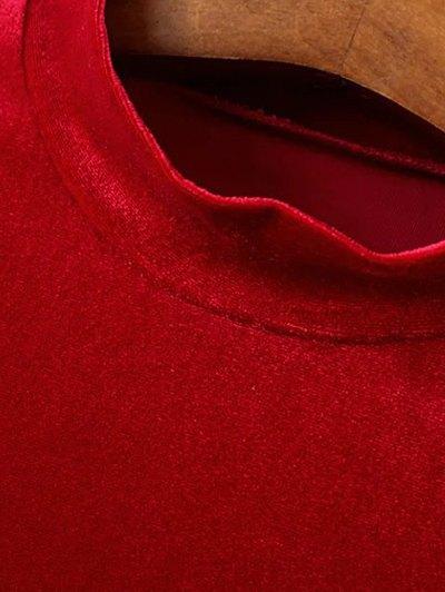 Mock Neck Long Sleeves Velvet Dress - RED L Mobile