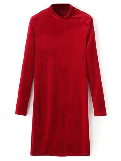 Mock Neck Long Sleeves Velvet Dress - RED S Mobile