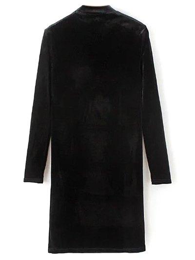 Mock Neck Long Sleeves Velvet Dress - BLACK M Mobile