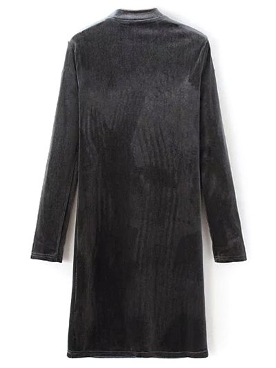 Mock Neck Long Sleeves Velvet Dress - GRAY M Mobile