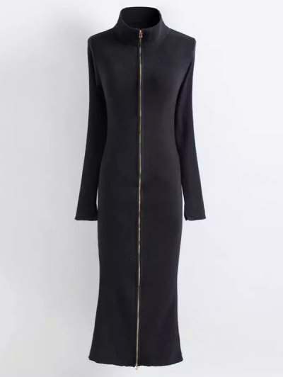 Zippered Knitted Bodycon Dress - BLACK L Mobile