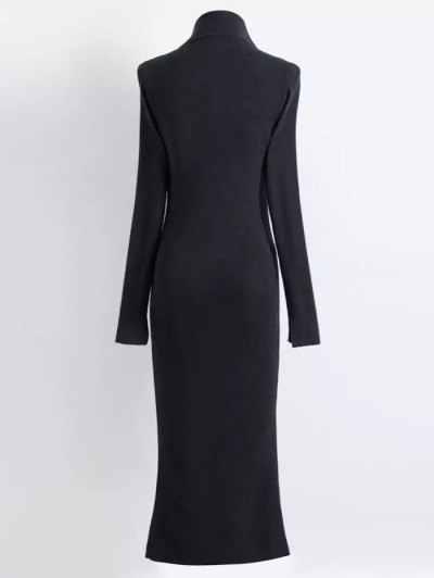 Zippered Knitted Bodycon Dress - BLACK S Mobile