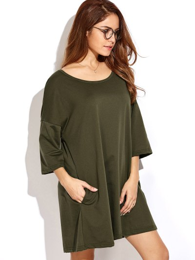 Dropped Shoulder Relaxed Dress - ARMY GREEN M Mobile