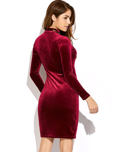 Velvet Mini Bodycon Dress - WINE RED ONE SIZE Mobile
